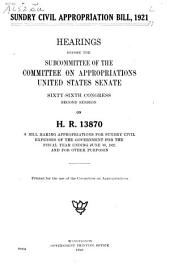 Sundry Civil Appropriation Bill, 1921: Hearings Before the Subcommittee of the Committee on Appropriations, United States Senate, Sixty-sixth Congress, Second Session, on H.R. 13870, a Bill Making Appropriations for Sundry Civil Expenses of the Government for the Fiscal Year Ending June 30, 1921, and for Other Purposes