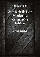 Zur Kritik Der Moderne