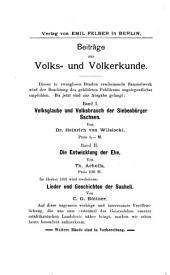 Volksglaube und Volksbrauch der Siebenbürger Sachsen