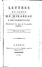 Lettres de comte de Mirabeau à ses commettans, pendant la tenue de la première législature