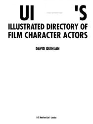 Quinlan S Illustrated Directory Of Film Character Actors Book PDF