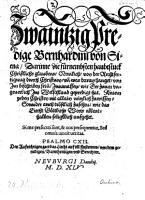 20 Predige  darinne die f  rnembsten Haubtstuck christlich s glaubens  nemlich  von der Rechtsfertigung durch Christum und was daran hanget  beschriben seien PDF