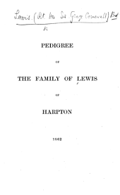 Pedigree of the Family of Lewis of Harpton
