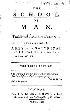 The School of Man  Translated from the French  of F  G  nard  Or Dupuis       The Third Edition
