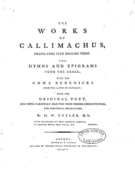 The Works of Callimachus PDF
