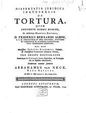 Dissertatio juridica inauguralis de tortura,