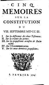 Cinq mémoires sur la constitution du VIII septembre MDCCIII