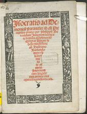 Jsocratis ad Demonicu[m] Paranesis: id est Preceptiua oratio: per Philippu[m] Beroaldum Juniorem latinitate donata. Co[m]plures ite[m] Esopi et Auiani fabelle nitidissime ab Hadriano Barlando nuper feliciter mutate et aucte