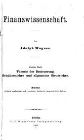 Finanzwissenschaft: th. Gebühren und allgemeine steuerlehre. 1880