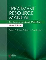 Treatment Resource Manual for Speech Language Pathology  Sixth Edition PDF