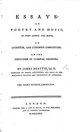 Essays  on Poetry and Music  as They Affect the Mind PDF
