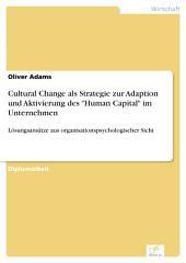 """Cultural Change als Strategie zur Adaption und Aktivierung des """"Human Capital"""" im Unternehmen: Lösungsansätze aus organisationspsychologischer Sicht"""