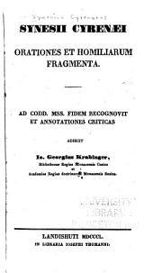 Synesii Cyrenaei quae exstant opera omnia: Volume 1