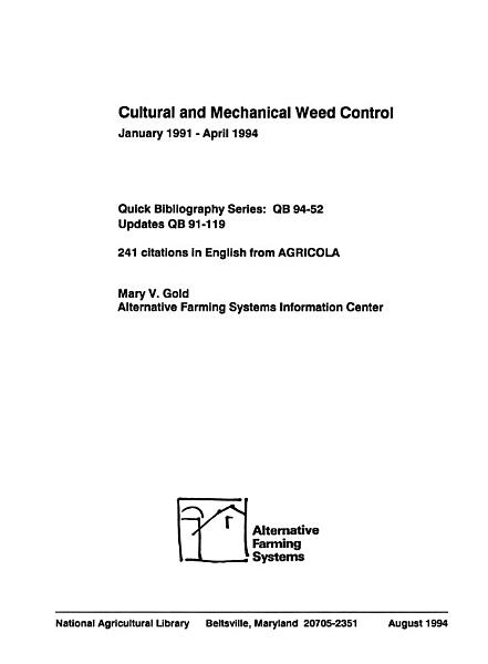 Cultural Or Mechanical Weed Control