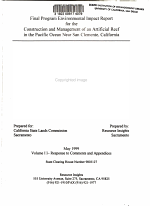 Final Program Environmental Impact Report for the Construction and Management of an Artificial Reef in the Pacific Ocean Near San Clemente, California: Responses to comments and appendices