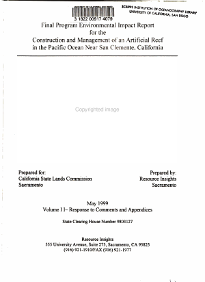 Final Program Environmental Impact Report for the Construction and Management of an Artificial Reef in the Pacific Ocean Near San Clemente  California  Responses to comments and appendices