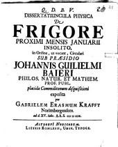 De frigore proximi mensis Ianuarii insolito