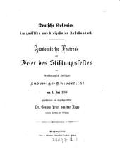 Deutsche Kolonien im zwölften und dreizehnten Jahrundert, academische Festrede