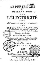 Expériences et Observations sur l'Electricité faites en Amérique