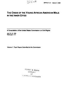 The Crisis of the Young African American Male in the Inner Cities PDF