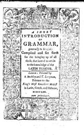 A Short Introduction of Grammar, Etc