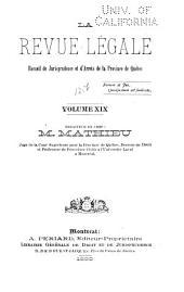 La Revue legale: Volume 19