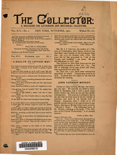 The Collector: A Monthly Magazine for Autograph and Historical Collectors, Volume 16, Issue 1