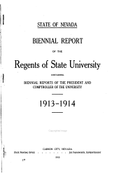 Biennial Report of the Board of Regents of the State University of Nevada