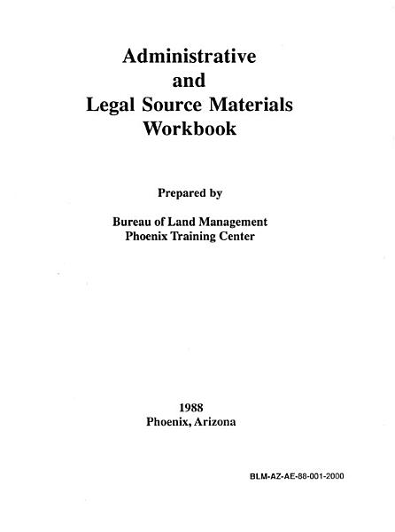 Download Administrative and legal source materials workbook Book