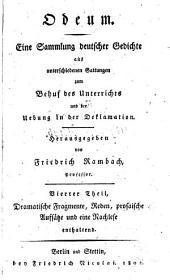Odeum: eine Sammlung deutscher Gedichte aus unterschiedlichen Gattungen ...