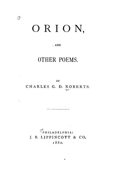 Orion  and Other Poems PDF