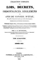 Collection complète des lois, décrets d'intérêe général, traités internationaux, arrêtés, circulaires, instructions, etc: Volume40