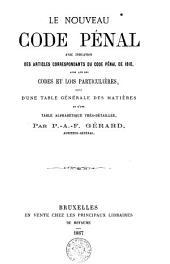 Le nouveau code pénal avec indication des articles correspondants du code pénal de 1810