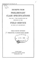 Excerpts from Preliminary Class Specifications for Use in the Classification of Positions in the Field Service of the Navy Department PDF