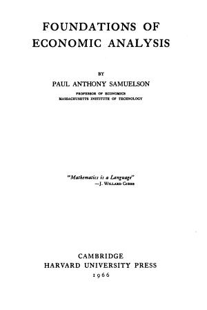 Foundations of Economic Analysis PDF