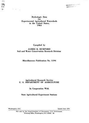Hydrologic Data for Experimental Agricultural Watersheds in the United States  1964 PDF