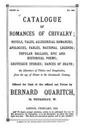 Catalogue of Romances of Chivalry: Novels, Tales, Allegorical Romances; Apologues, Fables, National Legends; Popular Ballads, Epic and Historical Poems; Grotesque Stories; Dances of Death; the Literature of Fiction and Imagination, from the Age of Homer to the Seventeenth Century, Volume 4