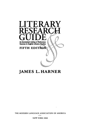 Literary Research Guide PDF