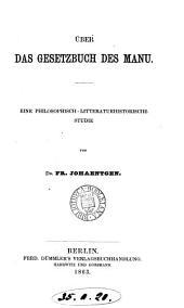 Über das Gesetzbuch des Manu: Volume 13
