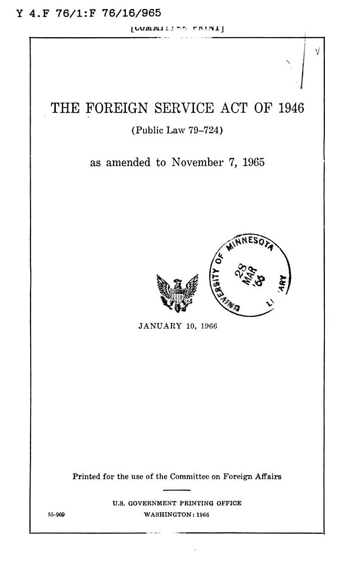 The Foreign Service Act of 1946