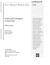 Crisis and Contagion in East Asia: Nine Lessons