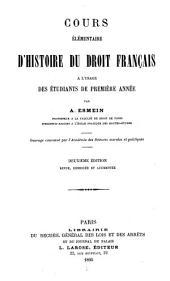Cours élémentaire d'histoire du droit français à l'usage des étudiants de première année
