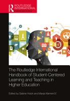 The Routledge International Handbook of Student Centered Learning and Teaching in Higher Education PDF