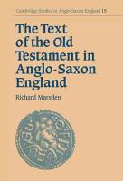 The Text of the Old Testament in Anglo Saxon England PDF