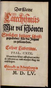 Der Kleine Catechismus: Mit vil schönen Sprüchen heiliger schrifft gegründet, für die Jugent zu gebrauchen