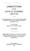 Constitution of the State of California Annotated
