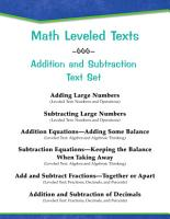 Leveled Texts  Master Math  Addition and Subtraction Text Set PDF