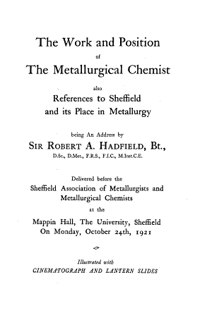 The Work and Position of the Metallurgical Chemist