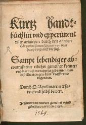 Kurtz Handbüchlein ... vieler Artzneyen