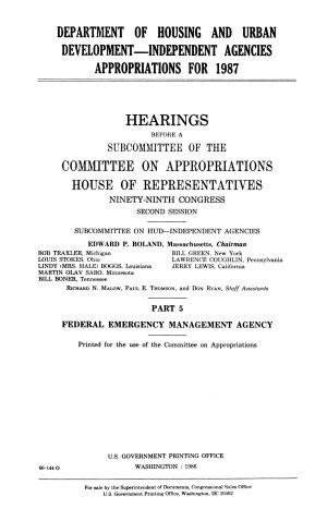 Department of Housing and Urban Development  independent agencies appropriations for 1987